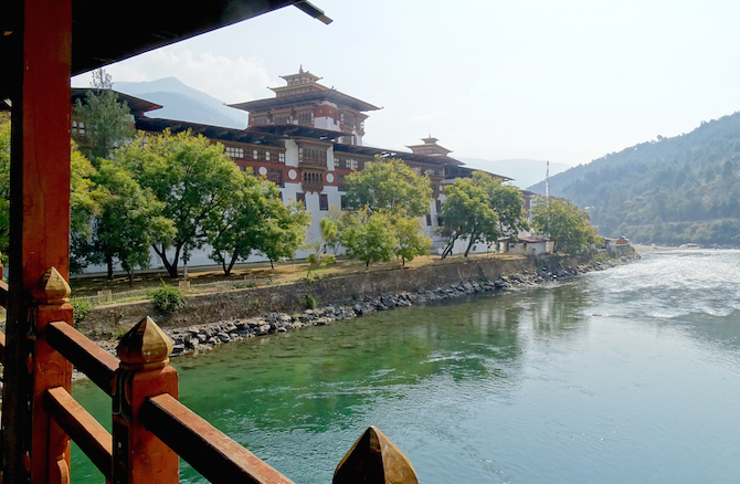 The spectacular Punakha Dzong in central Bhutan. Dzongs are a unique Bhutanese creation combining a formidable fortress with a palace, administrative quarters, a temple and a monastery. Pretty much everything a feudal lord could want...